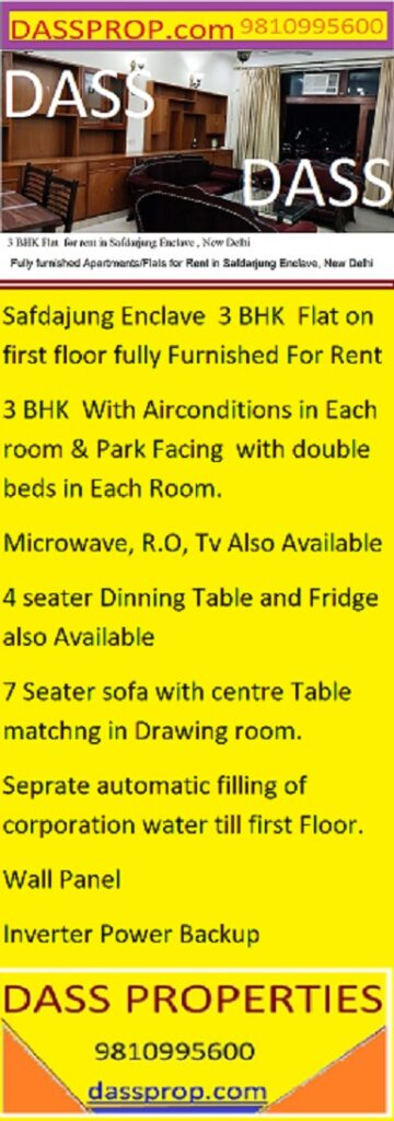fully furnisged flat for rent in safdurjung enclave
